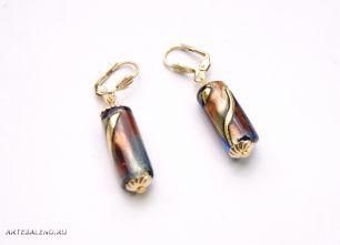 Серьги с бусиной-цилиндром муранское стекло