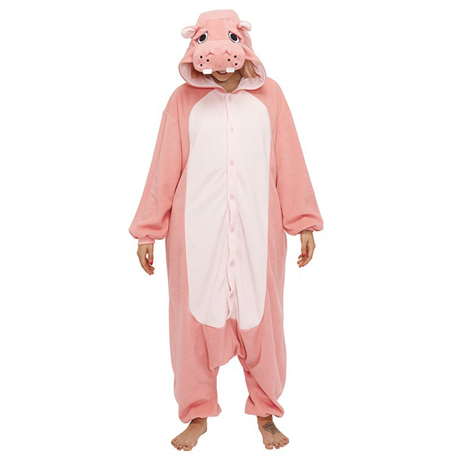 Пижама Кигуруми Бегемот Розовый Премиум
