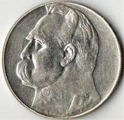 10 злотых. Польша. 1935 год. Серебро.