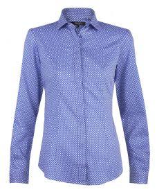 Женская рубашка синяя в белый ромб T.M.Lewin хлопок приталенная Fitted (52885)