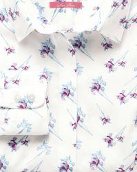 Женская рубашка белая с цветным узором Charles Tyrwhitt не мнущаяся Non Iron приталенная Fitted (WT026MLT)