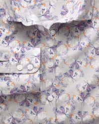 Женская рубашка серая с узором из бабочек Charles Tyrwhitt приталенная Fitted (WT030MLT)