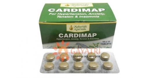 "Препарат от гипертонии ""Кардимап"", 100 таблеток, производитель ""Махариши Аюрведа"", Cardimap, 100 tab. Maharishi Ayurveda."
