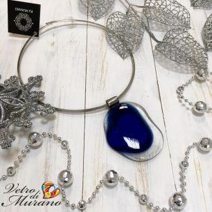 Кулон Синий лед муранское стекло
