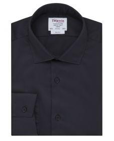 Мужская рубашка черная сатиновая T.M.Lewin приталенная Slim Fit (57623)