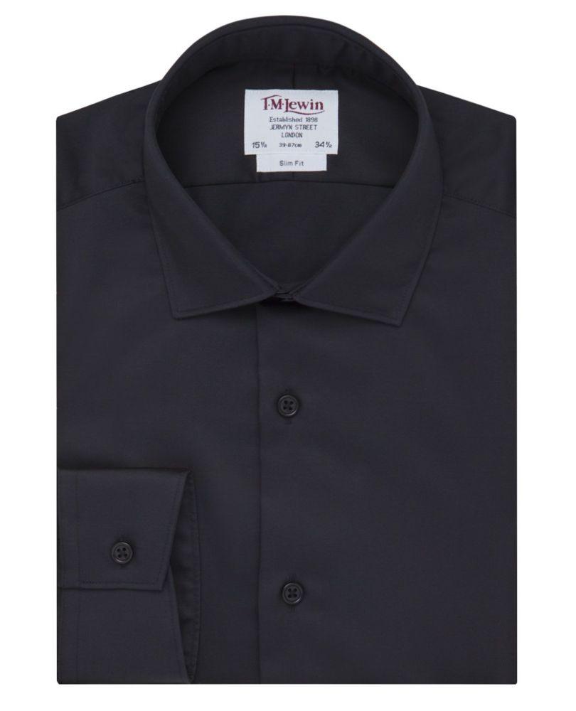 bcf0fc565a04e91 английская Мужская рубашка черная сатиновая T.M.Lewin приталенная Slim Fit