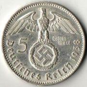 5 рейхсмарок. 1938 год. А.  Серебро.