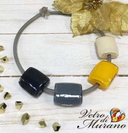 Колье Квадро   серый-желтый  муранское стекло