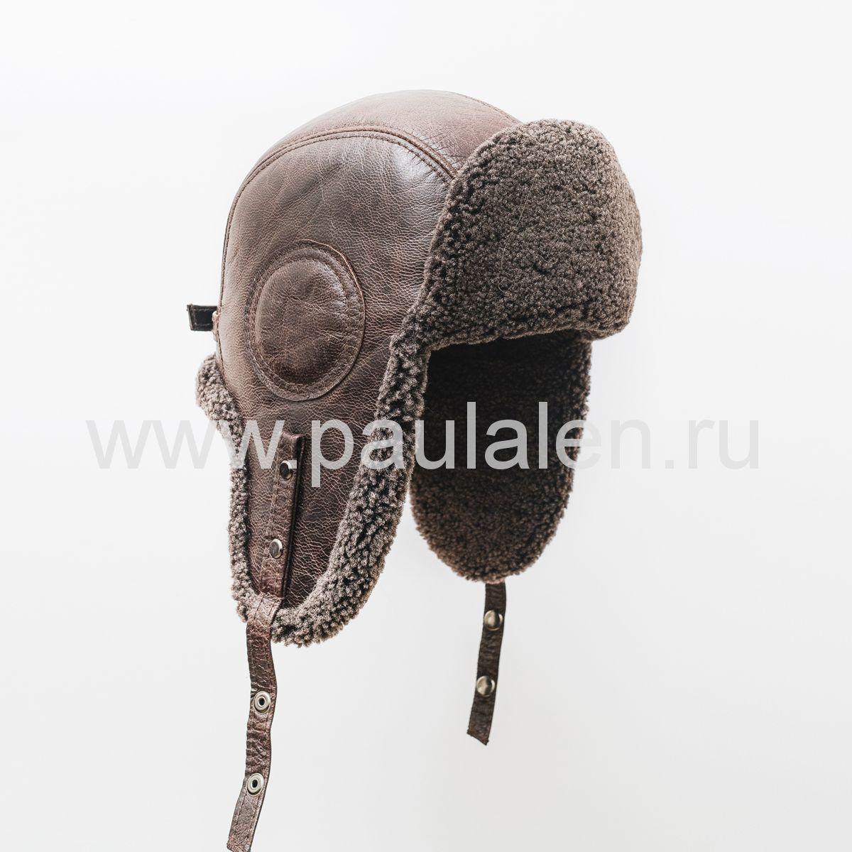 """Мужская шапка-ушанка """"Шлем Авиатор"""" из овчины. B003"""