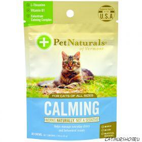Pet Naturals of Vermont CALMING - Успокоительное для кошек, со вкусом куриной печени 30 мягких жевательных подушечек