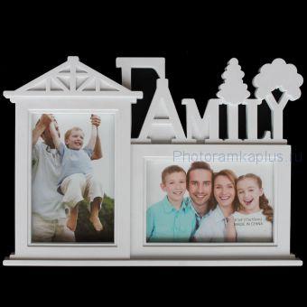 Мультирамка Family на 2 фото 586-6 белая