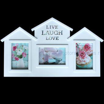 Рамка на 3 фото домик белого цвета BH 1501