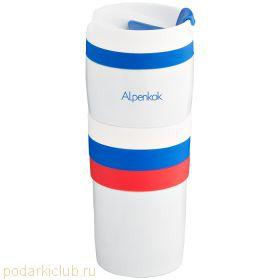Термокружка белая (нерж.). DELTA АК-04006А Триколор 0,4л (код 122)