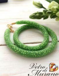 Ожерелье Венецианский бисер в сеточке разные цвета
