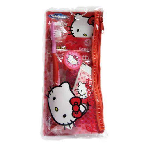 Дорожный набор Hello Kitty - косметичка, щетка и зубная паста 3+