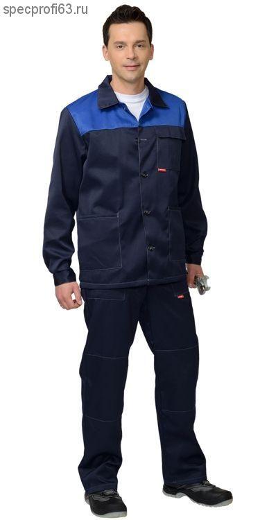 "Костюм ""СТАНДАРТ"": куртка, брюки тёмно-синий с васильковым"
