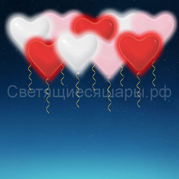 Сердца светящиеся 30 см (ассорти)