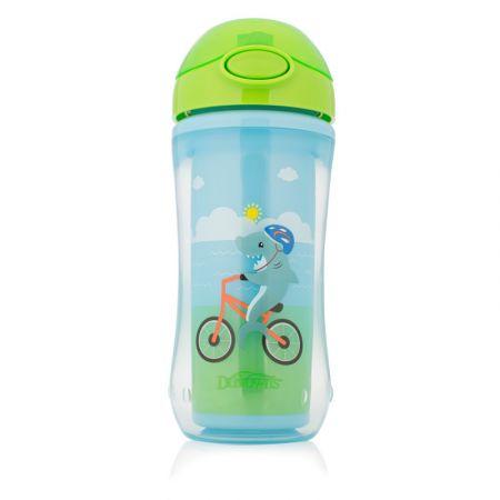 Dr.Brown's Чашка-термос 300 мл с трубочкой, синие цвета (Акула на велосипеде/Белка-пилот). (Арт. TC01021)