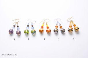 Серьги бусины и кристаллы муранское стекло