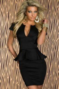 Платье с баской черного цвета