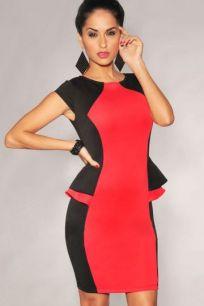 Черно-красное мини платье