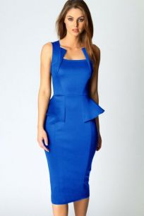 Платье миди синего цвета