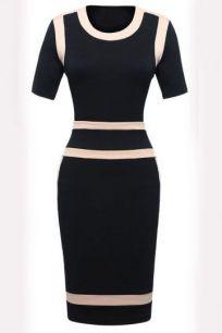 Классическое черное платье с контрастной отделкой