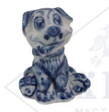 Собака Гжель Щенок с цветком 5х4,3х4,3см