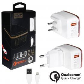 Зарядное устройство (1USB) 2,4A Quick Charge 2.0 + кабель iphone