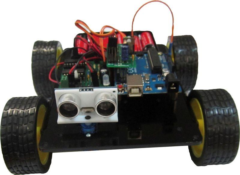 Робот-конструктор с ультразвуковым датчиком-дальномером. Робототехника для начинающих.