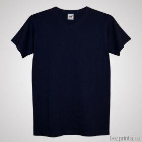 Мужская темно-синяя футболка без рисунка FRUIT OF THE LOOM с V-образным вырезом