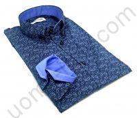 """Мужская рубашка синяя в голубой """"огурец""""."""