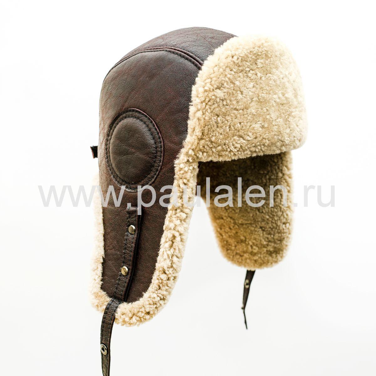 Шлем Авиатор мужской, из натуральной кожи и овчины B019