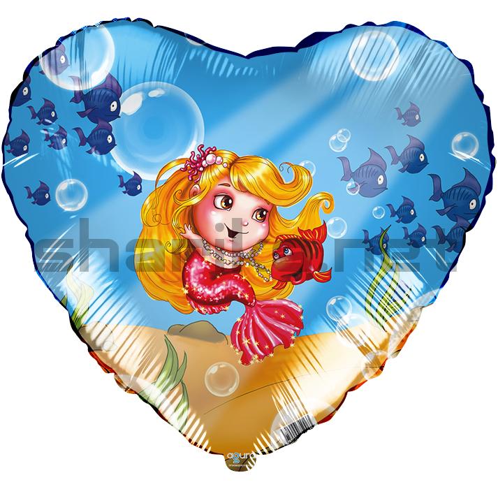 Фольгированный шар (18''/46 см) Сердце, Русалочка, 1 шт.