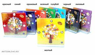 Часы настольные 12х12 см  Дерево счастья муранское стекло