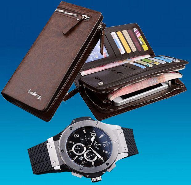 Мужской набор часы и портмоне