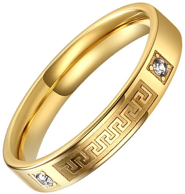 Кольцо с цирконами и орнаментом