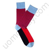 Носки Tezido голубые с красной полоской