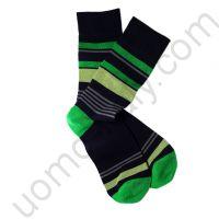 Носки Tezido черные с зеленой  полоской