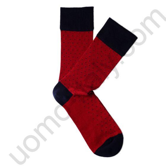 Носки Tezido красные в синею точку