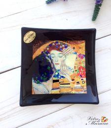 Блюдо Поцелуй Климт 12х12 см из муранского стекла