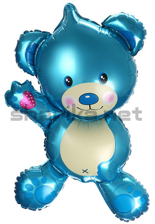 Шар (36''/91 см) Фигура, Плюшевый мишка, Голубой