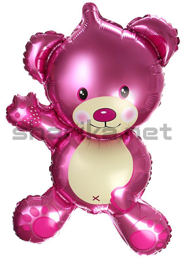 Шар (36''/91 см) Фигура, Плюшевый мишка, Розовый
