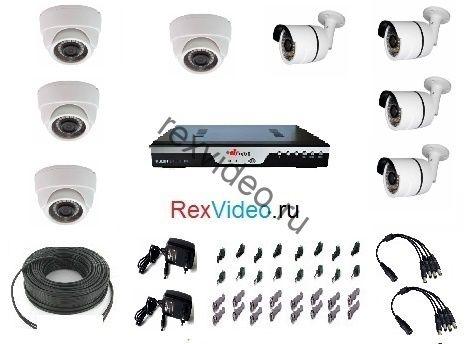 Комплект на 8 камер AHD HD-720p для улицы и помещения + 8-канальный видеорегистратор