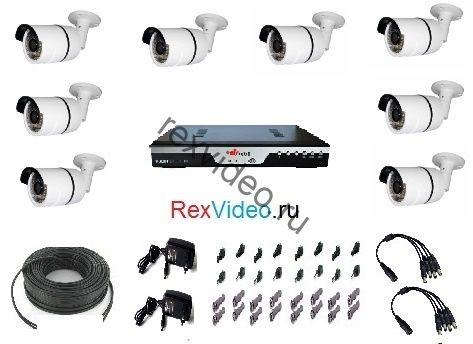 Комплект на 8 камер AHD HD-720p для улицы + 8-канальный видеорегистратор
