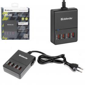 Сетевой адаптер Defender UPA-40 4 порта USB, 5V / 5A