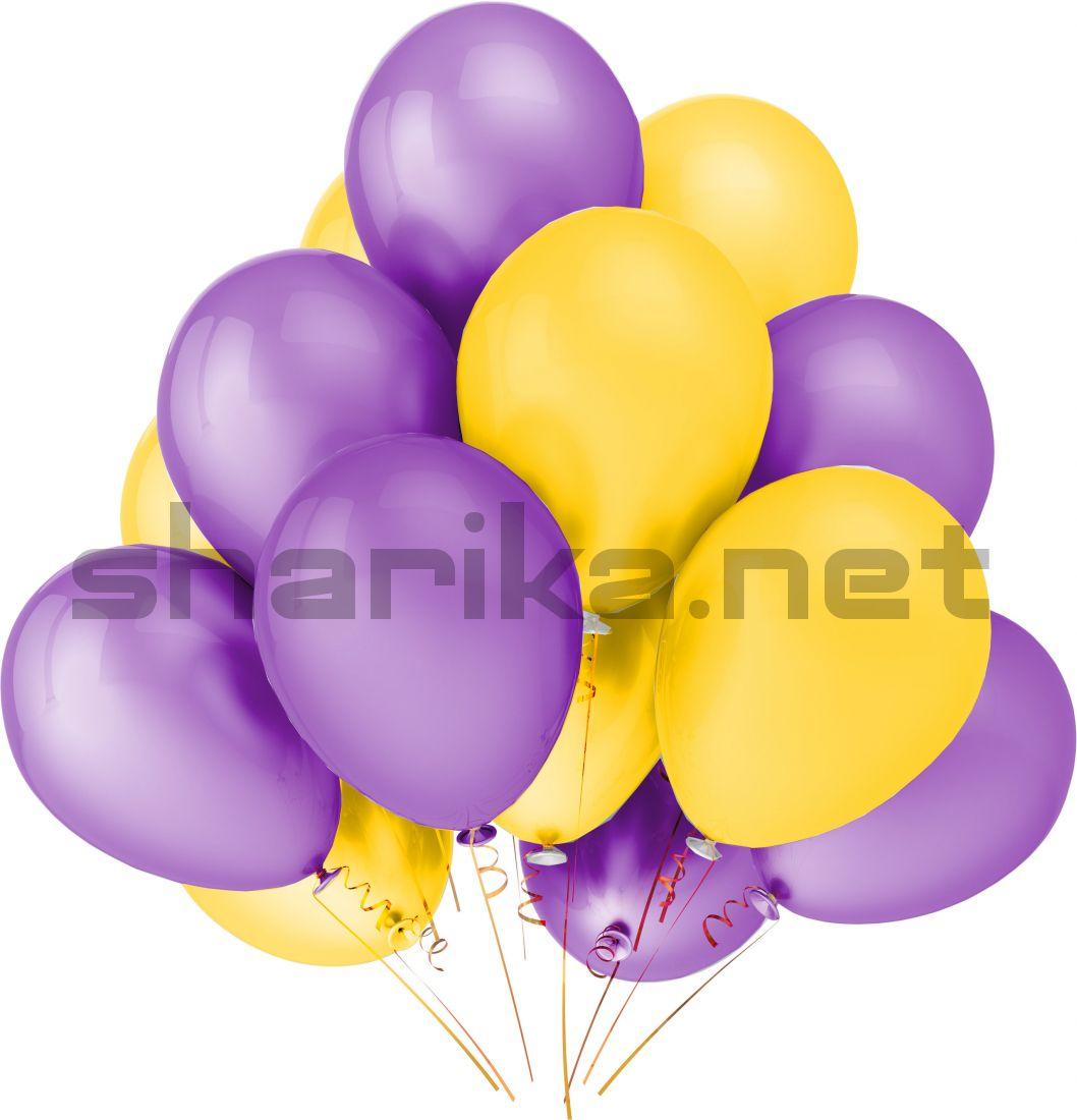 Облако воздушных шариков (12''/30 см) сиреневый и желтый