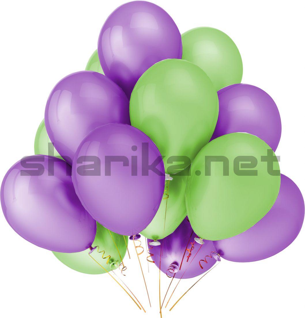 Облако воздушных шариков (12''/30 см) сиреневый и зеленый