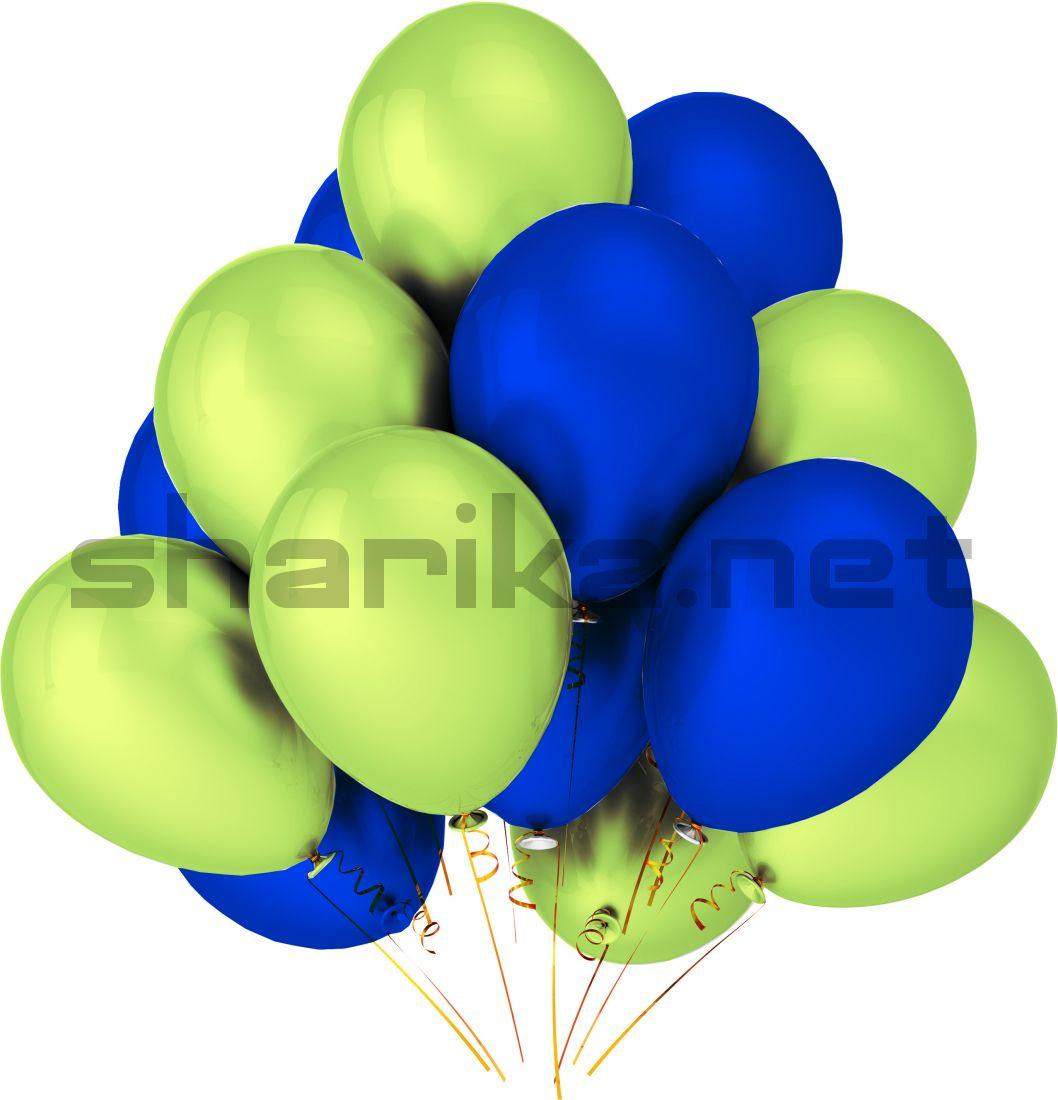 Облако воздушных шариков (12''/30 см) Синий и зеленый