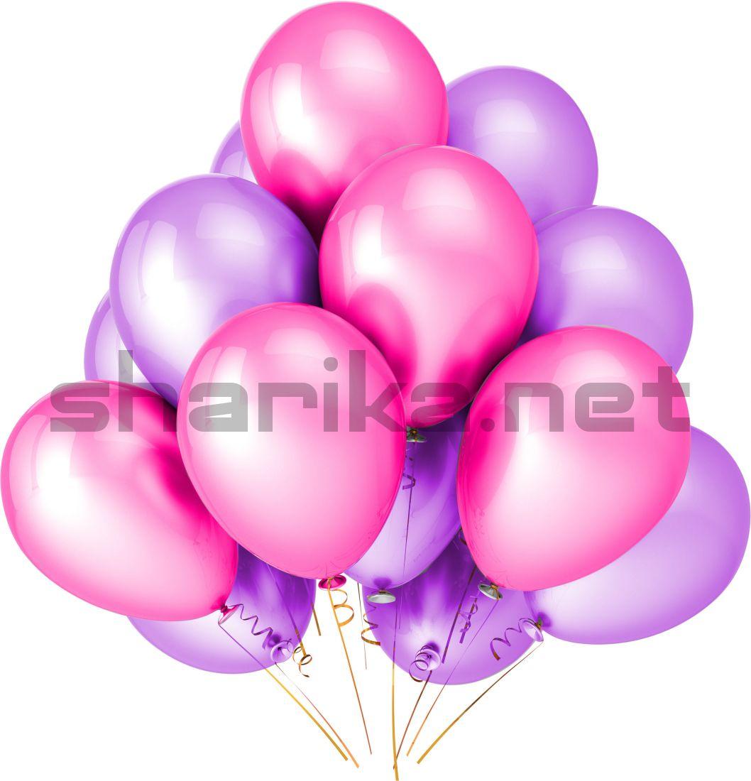 Облако воздушных шариков (12''/30 см) Розовый и сиреневый пастель